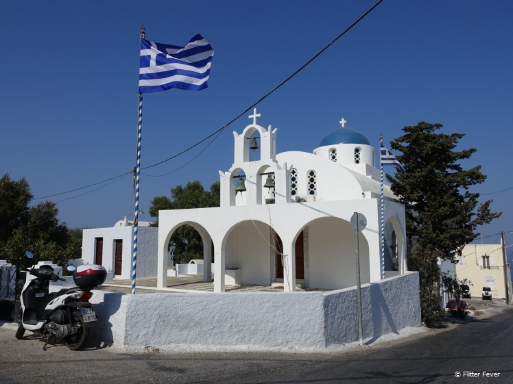 Small Greek Orthodox church in Santorini