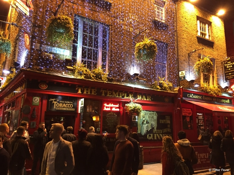 The Temple Bar area in Dublin is always crowded with people