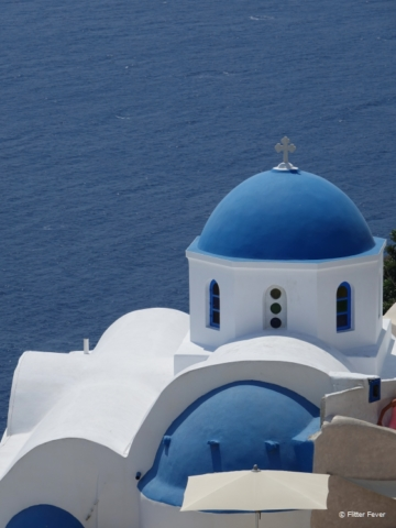 The blue domes of Santorini