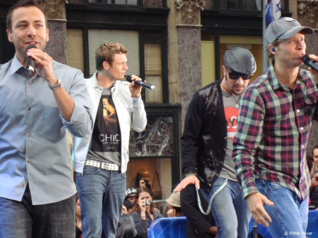 Backstreet Boys performing for a TV show recorded on the streets of New York