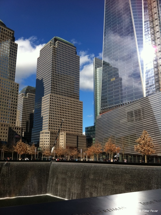 The sun is shining at Ground Zero, New York in May