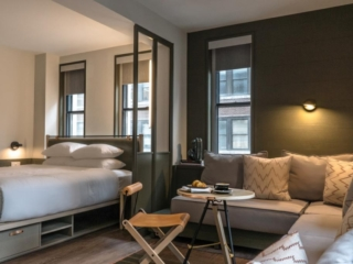 Hotel room at MOXY NYC