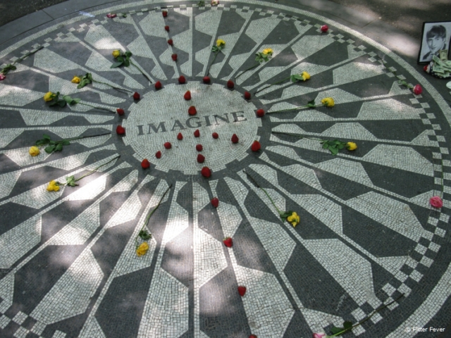 The iconic Imagine mosaic at Strawberry Fields in Central Park