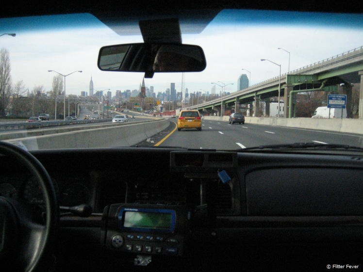 Manhattan in sight from the taxi in Queens