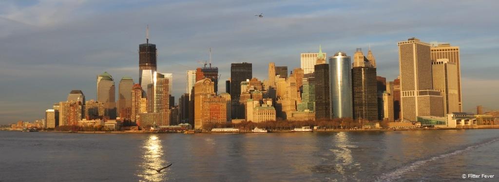 Manhattan skyline seen from Staten Island Ferry
