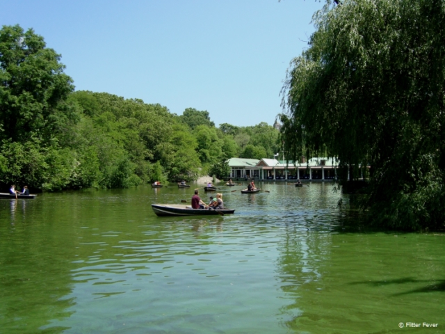 Row boats in the Lake and the Loeb Boathouse in Central Park