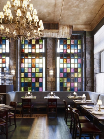 Stained glass at the breakfast room of The Beekman, a Thompson Hotel