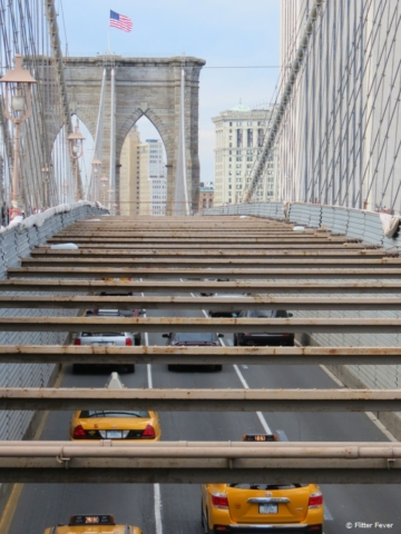 Taxis crossing the Brooklyn Bridge, NYC