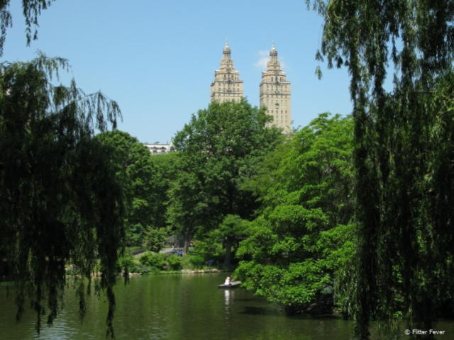 The San Remo at The Lake in Central Park in spring