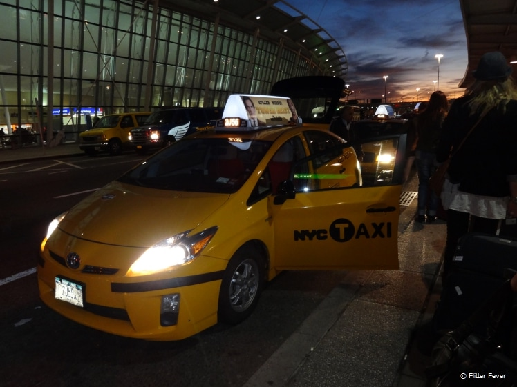 Waiting in line at JFK to get a taxi to Manhattan