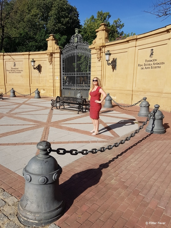 At the gates of The Royal Andalusian School of Equestrian Art in Jerez de la Frontera