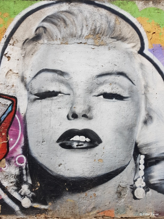 Black and white Marilyn Monroe street art in Lisbon