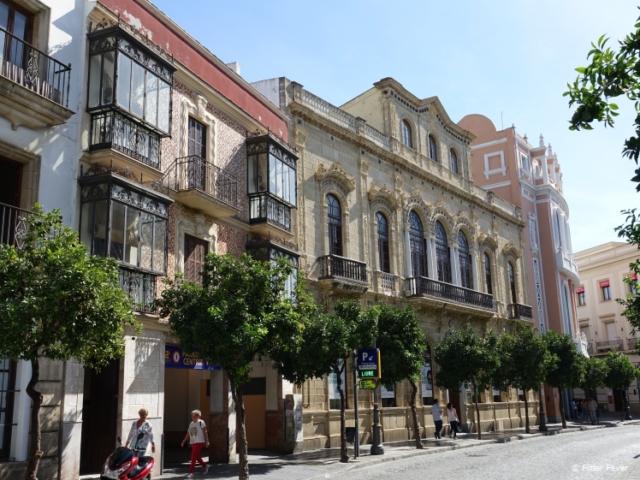 Pretty architecture at Calle Larga in Jerez de la Frontera