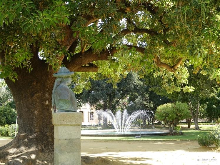 D. Alvaro Domeco Romero statue under the tree