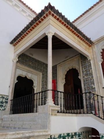 Mudéjar-style mullioned windows and portal at National Palace of Sintra