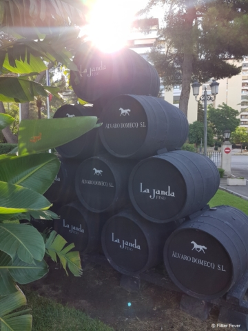 Sherry wine barrels in front of Hotel Jerez and Spa