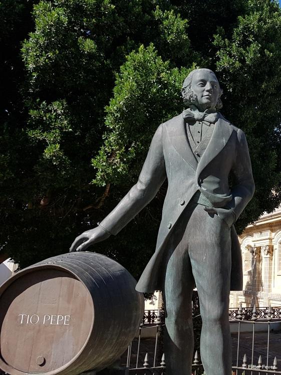 Statue of Tio Pepe in the center of Jerez de la Frontera