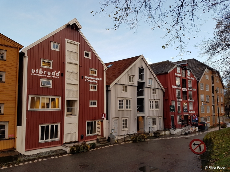 Front sidre of the wooden storage houses at the Nidelva River Trondheim