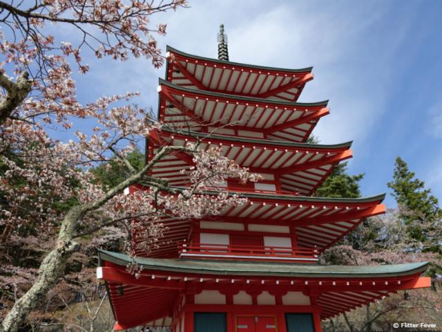 Chureito Pagoda near Mt. Fuji from below