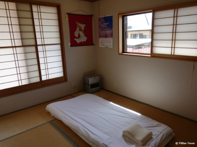 Futon bed in Japanese bedroom