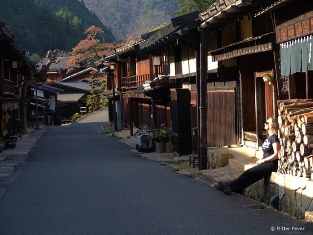 Enjoying the last sunrays of the day in Tsumago