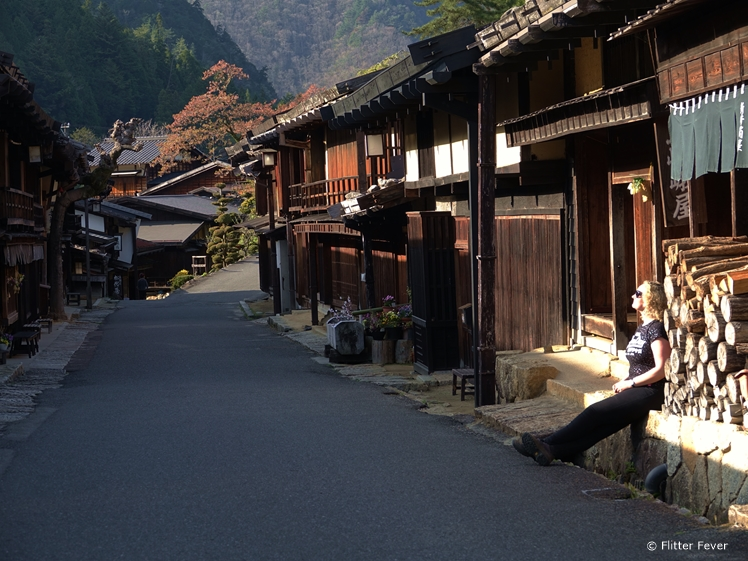 Enjoying the last sunrays of the day in Tsumago