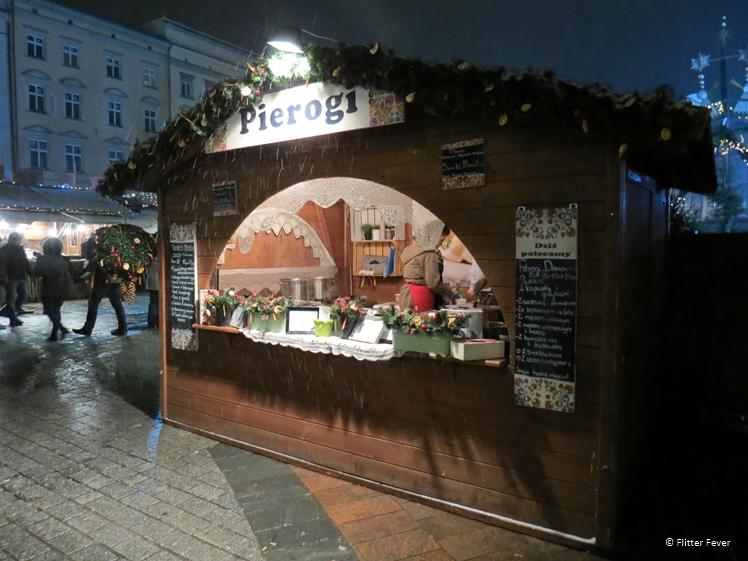 Pierogi stall at Christmas Market on Rynek Główny, Krakow