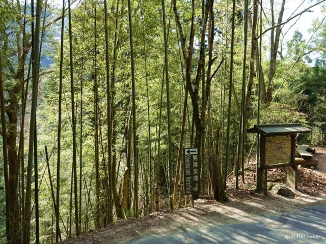 Signs to the waterfall at Nakasendo Trail halfway between Magome and Tsumago