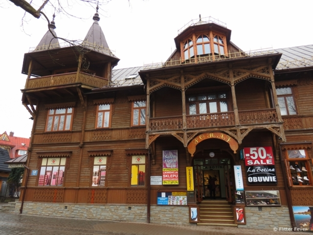 Wooden building in central street of Zakopane