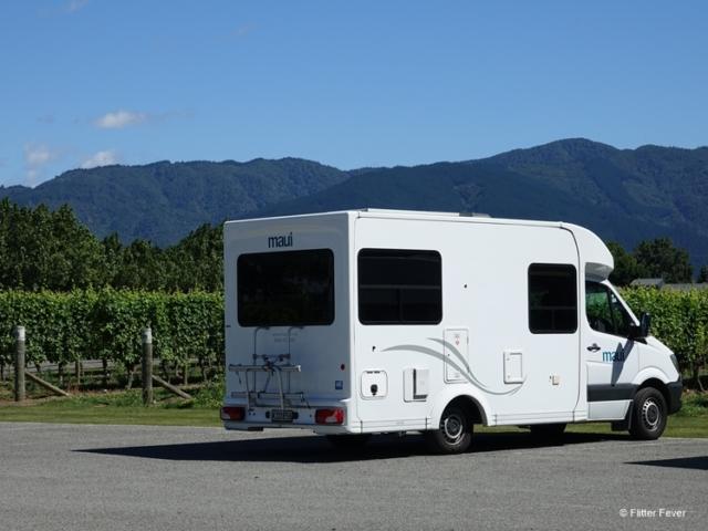 Camper van parked at vineyard in Blenheim