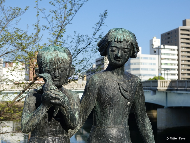 Statue of children right across the A-Bomb Dome