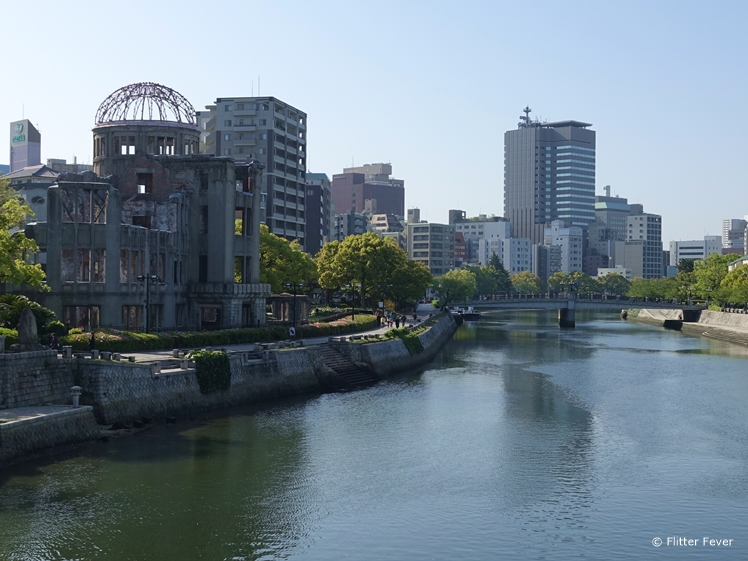 The A-Bomb Dome seen from the Aioi Bridge in Hiroshima