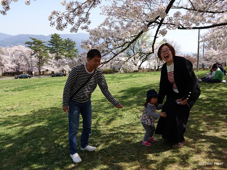 A cute Japanese family in Joyama Park, Matsumoto