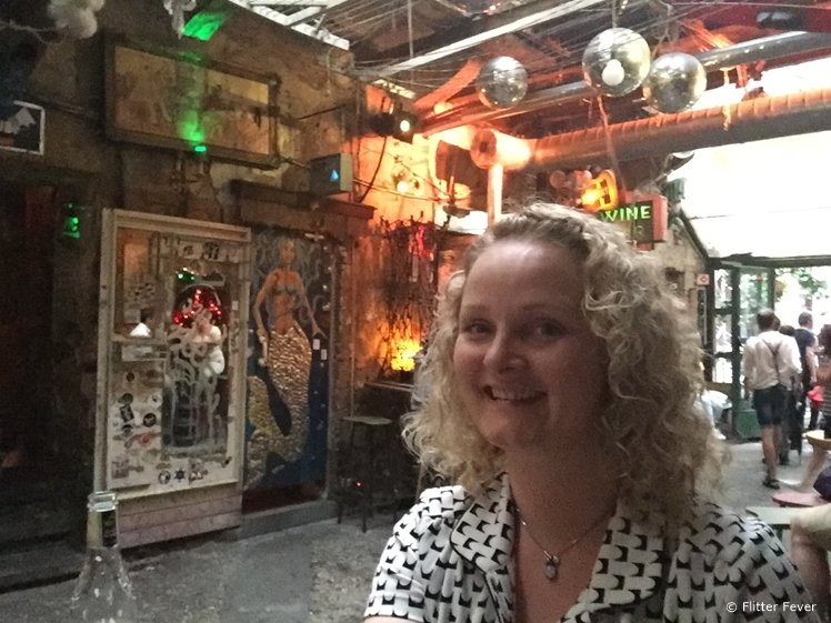 Enjoying some time at ruin bar Szimpla Kert in Budapest