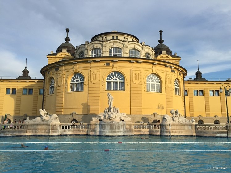 Lane pool in the middle of Széchenyi thermal bath Budapest