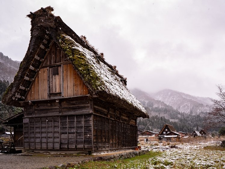 Thatched roof wooden house in Ogimachi, Shirakawa-go, Gifu Prefecture