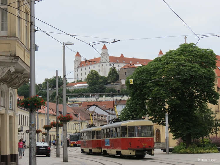 Bratislava city view with Bratislava Castle on the background