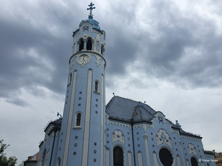 The Blue Church and some dramatic clouds in Bratislava