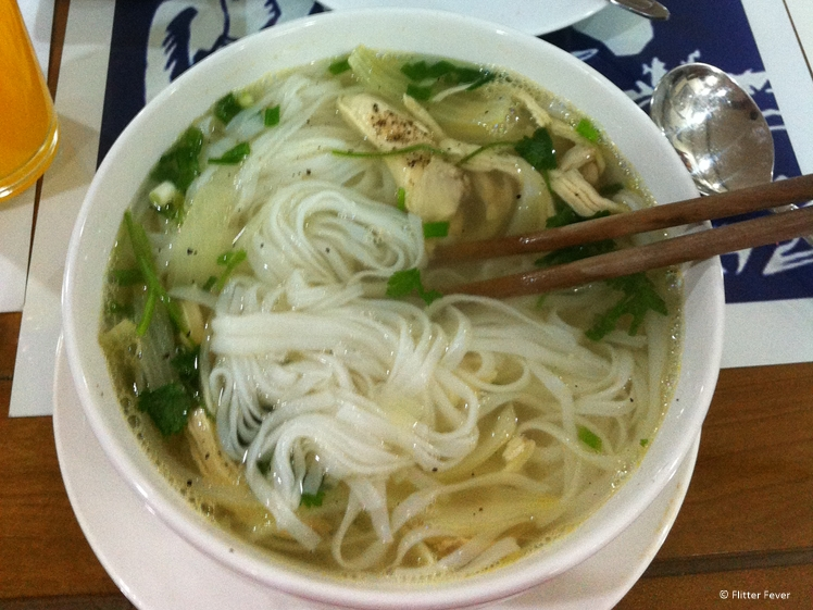 A bowl of hot Pho Ga noodle soup in Hanoi Vietnamese food