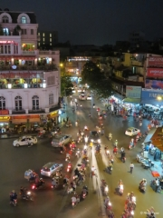 Dinh Tien Hoang crossing seen from City View Cafe Hanoi