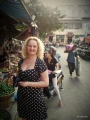 Enjoying myself at Duong Xuan market in Hanoi