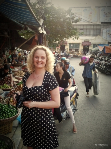 Enjoying myself at Duong Xuan market in Hanoi