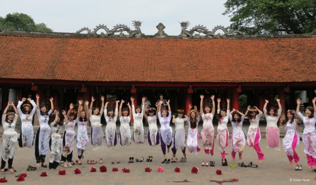 Female graduates at the Van Mieu Temple of Literature in Hanoi