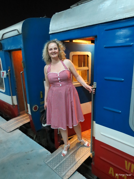 Getting on board of the King Express night train from Hanoi to Sapa