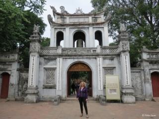 In front of Van Mieu Temple of Literature in Hanoi