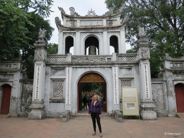 In front of Van Mieu Temple of Literature in Hanoi