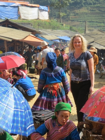 In the middle of the Can Cao market Vietnam Sapa