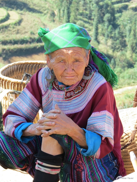 Sweet grandma with one blind eye Can Cao market Vietnam Sapa