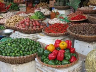 Veggies, fruit and herbs at the Duong Xuan market in Hanoi