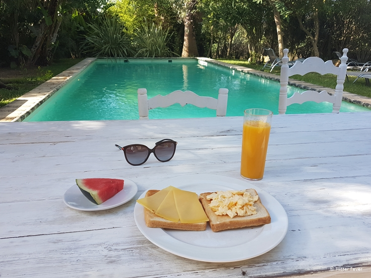 Breakfast with pool view La Hacienda Ibiza